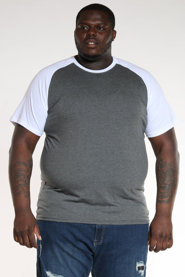 Men's Big & Tall Raglan Sleeve Tee - White-VIM.COM