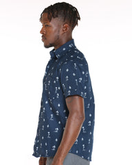VIM Palm Tree And Boat Printed Shirt - Navy - Vim.com