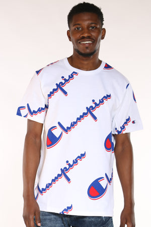 CHAMPION-Men's Script Tee - Dropsha White-VIM.COM