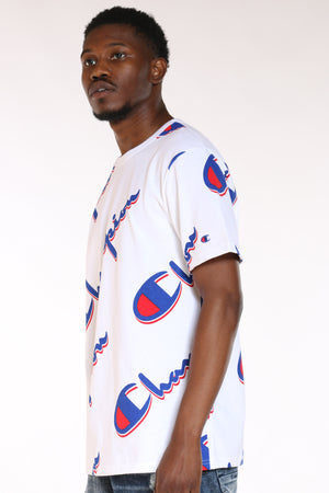 Men's Script Tee - Dropsha White