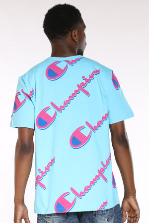 Men's Script Tee - Blue Horizon