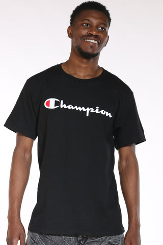 CHAMPION-Men's Script Tee - Black-VIM.COM