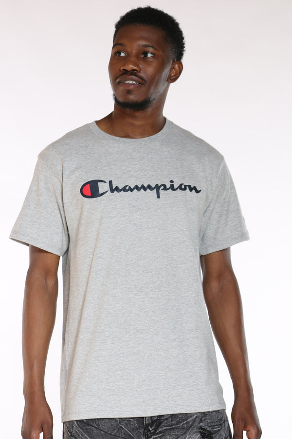 CHAMPION-Men's Script Tee - Oxford-VIM.COM