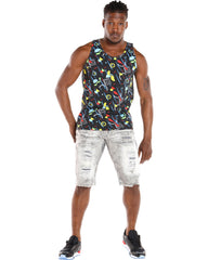 Men'S All Over Print Graffiti Tank - Black