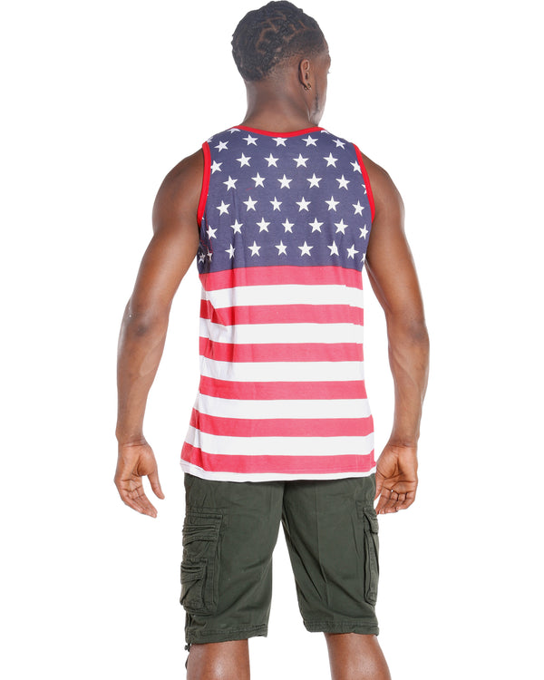 Men's Flag Tank Shirt - Red White Blue