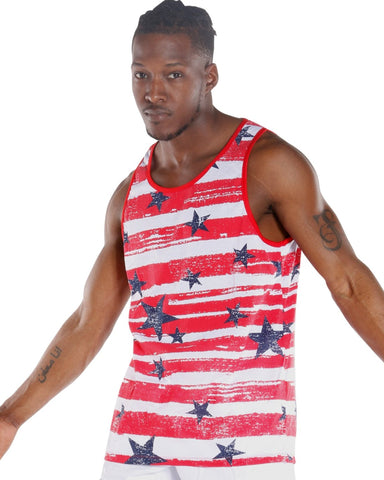 Men'S Striped Star Tank