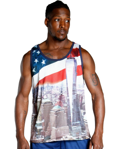 Men's FREEDOM TOWER FLAG MESH TANK TOP