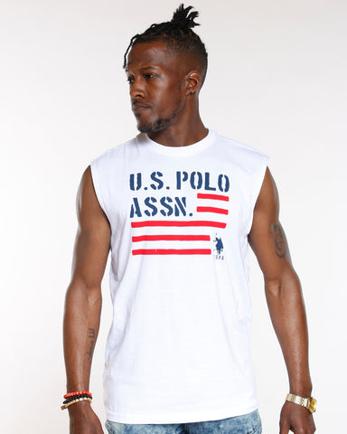 White Us Polo Flag Muscle Tank