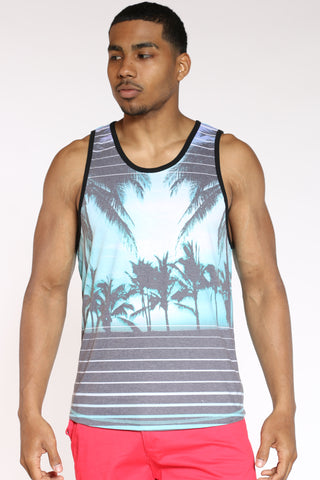 Men's Palm Tree & Stripes Tank Top - Capri