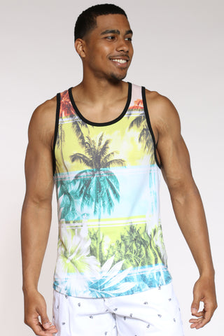Men's Palm Trees Tank Top - White