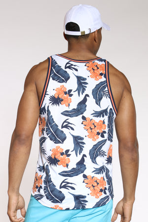 Men's Floral Rib Trim Tank Top - White
