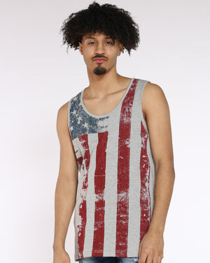 Men's American Flag Tank Tee - Grey-VIM.COM