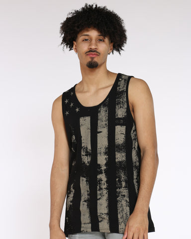 Men's American Flag Tank Tee - Black