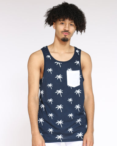 Men's Palm Tree Tank Top - Navy White