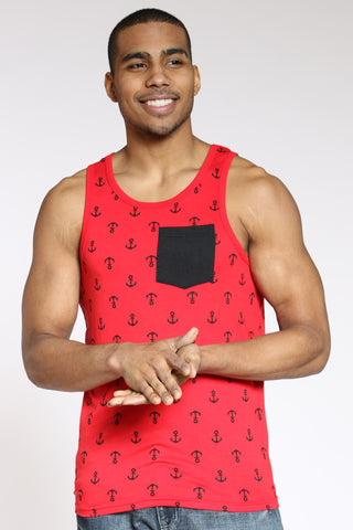 Men's Anchor Print Tank Top - Red Black