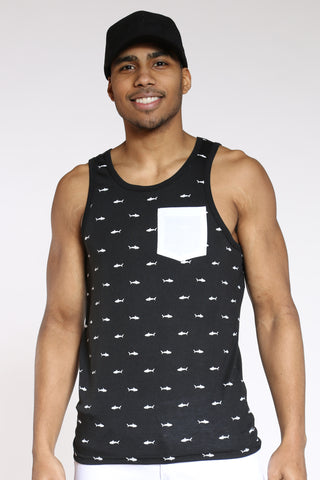 Men's Shark Front Pocket Tank Top - Black White