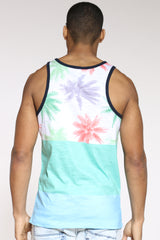 Palm Tree Color Block Tank Top - Green