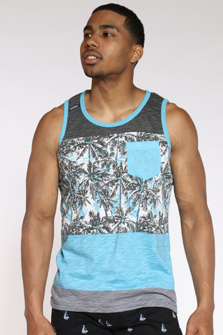 Men's Palm Tree Color Block Tank Top - Grey