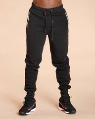VIM Men'S Fleece Zipper Pocket Jogger - Black - Vim.com