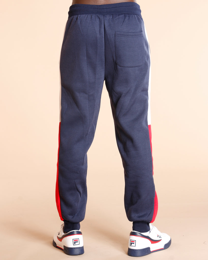 Two Color Side Stripe Fleece Jogger - Navy