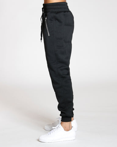 Side Zipper Knee Trim Fleece Jogger - Black