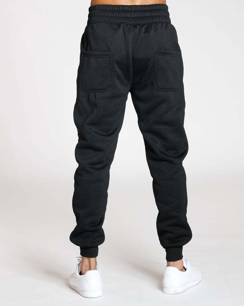 VIM Side Zipper Knee Trim Fleece Jogger - Black - Vim.com