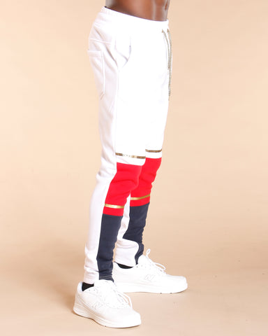White Colorblock Fleece Jogger