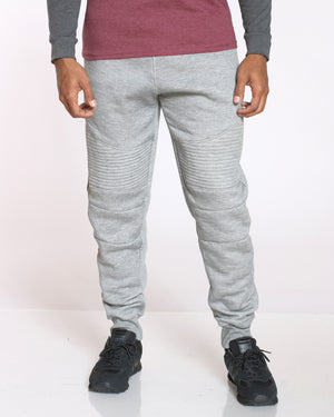 Men's Ryan Fleece Moto Jogger - Heather Grey-VIM.COM