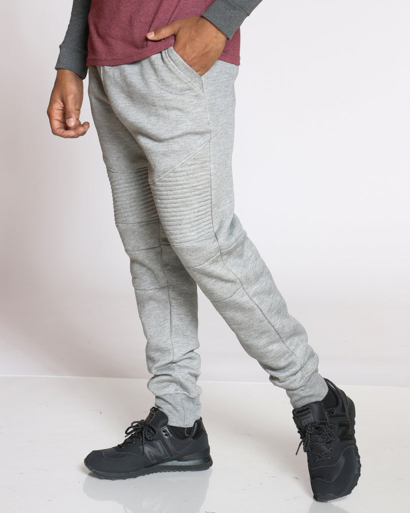 Ryan Fleece Moto Jogger - Heather Grey