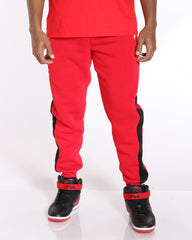 VIM Dante 2 Color Side Stripe Fleece Jogger - Red White - Vim.com