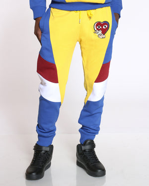 Men's Love Heart Patch Color Block Jogger - Yellow Royal-VIM.COM