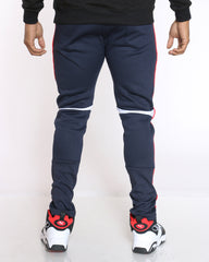 Donny Ribbed & Zips Fleece Jogger - Navy White