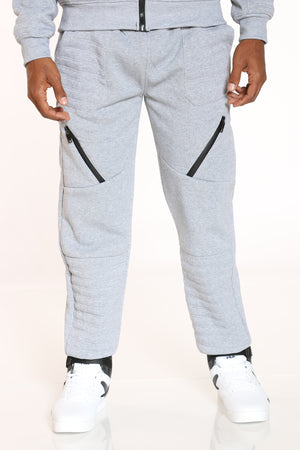 Men's Moto & Zips Fleece Jogger - Light grey-VIM.COM