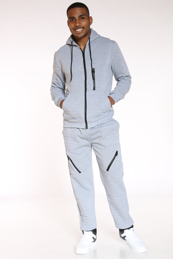 Men's Moto & Zips Fleece Jogger - Light Grey