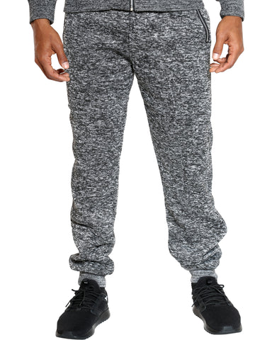 Men's Heavy Marled Fleece Jogger - Black-VIM.COM