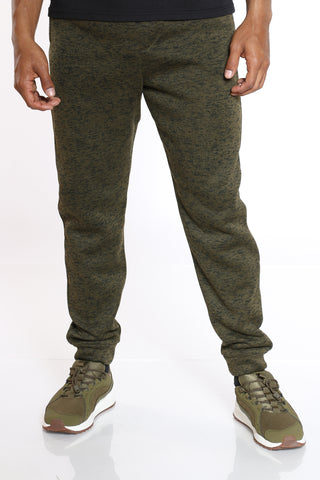 Men's Marled Fleece Jogger - Olive-VIM.COM