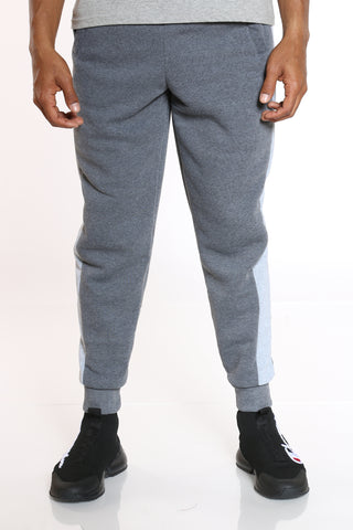 Men's Side Stripe Fleece Jogger - Charcoal Heather Grey-VIM.COM