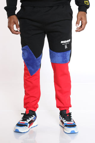 Men's Color Block Polar Fleece Jogger - Black-VIM.COM
