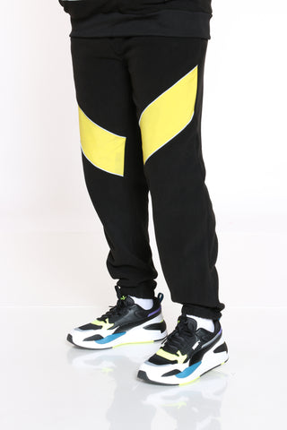 Men's Polar Fleece Taslon Panels Jogger - Black Yellow-VIM.COM