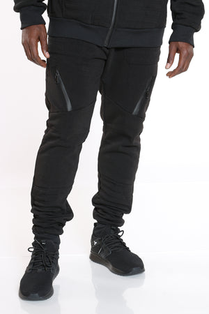 Men's Moto Fleece Jogger - Black-VIM.COM