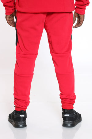 Men's Moto Fleece Jogger - Red Black