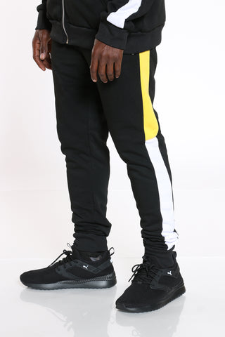Men's Color Block Side Trim Fleece Jogger - Black Yellow-VIM.COM