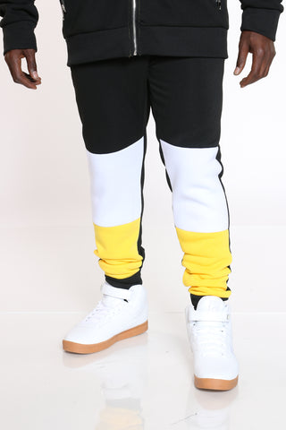 Men's Color Block Fleece Jogger - Yellow Black-VIM.COM