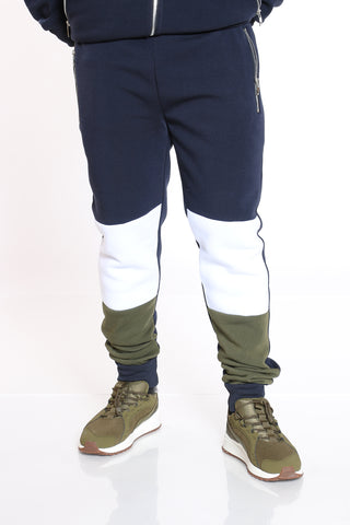 Men's Color Block Fleece Jogger - Olive Navy-VIM.COM