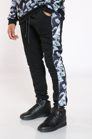 Men's Money Side Print Fleece Jogger - Black-VIM.COM
