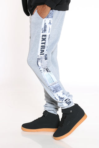 Men's Side Newspaper Stripe Fleece Jogger - Heather Grey-VIM.COM