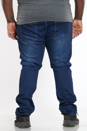 Men's Plus Size Big & Tall Ripped Slim Fit Jean - Dark Blue