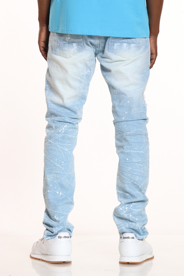Men's Moto Patches & Rips Acid Wash Jean - Light Blue