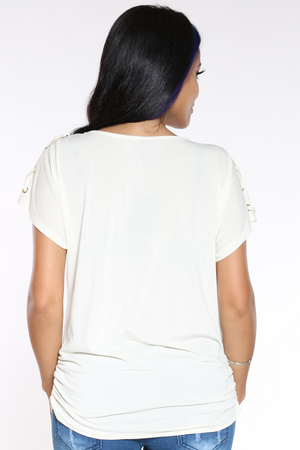 Women's Criss Cross Shoulder Top - White