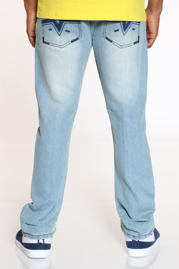 Men's Belted Embroidered Pocket Jean - Ice Blue